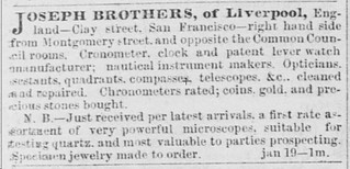 Joseph Brothers ad January 19, 1852