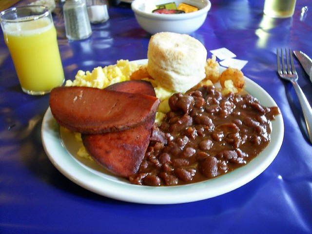 Newfie Breakfast | Baked beans, fried bologna, home made bis ...