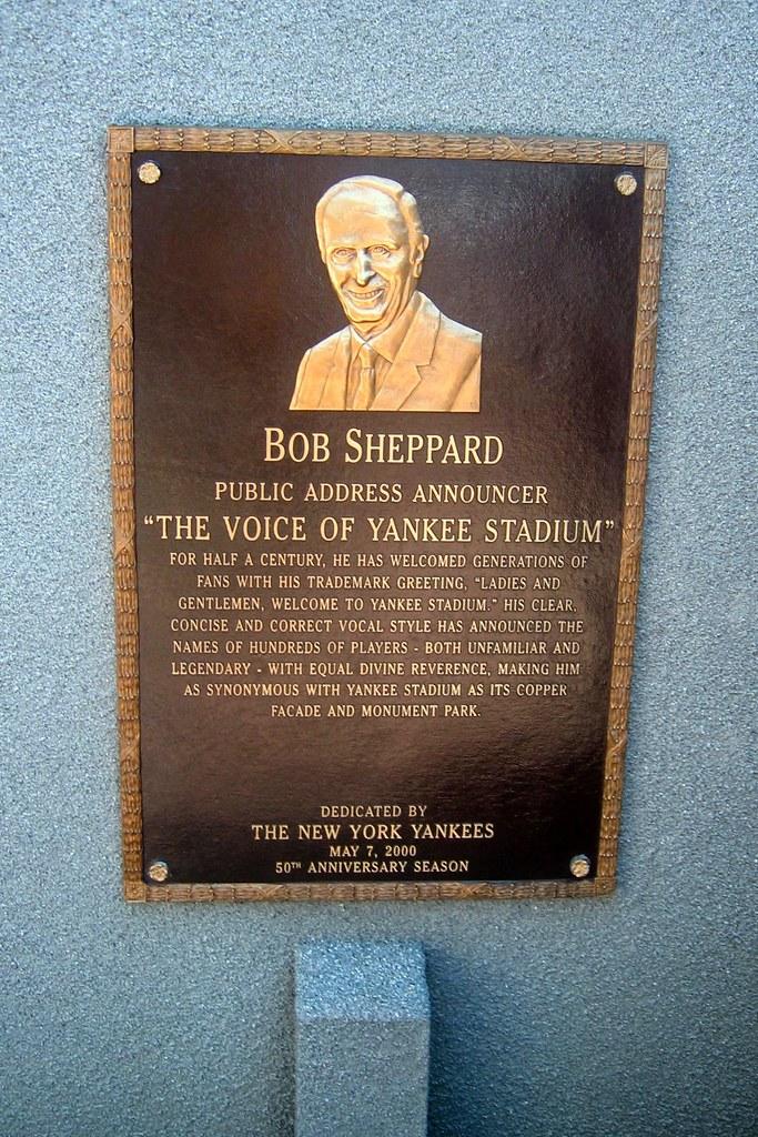 Yankee Stadium: Monument Park - Bob Sheppard plaque | Flickr