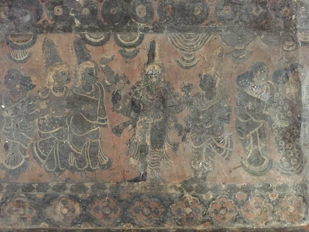 Ceiling paintings - Ardhanaareshwara being worshipped