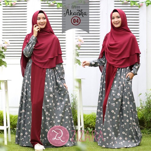 Gamis Zizara Akaisha Dress 04 Baju Muslim Wanita Baju Mu