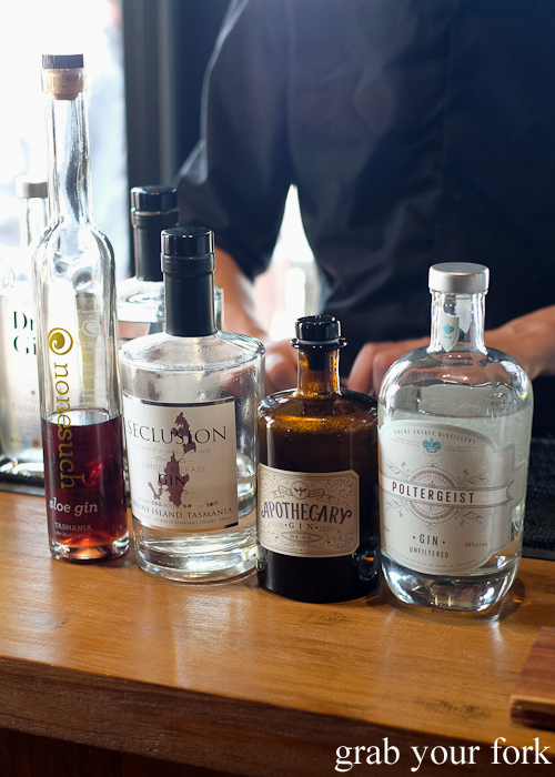 Tasmanian gins at Bruny Island House of Whisky on Bruny Island in Tasmania