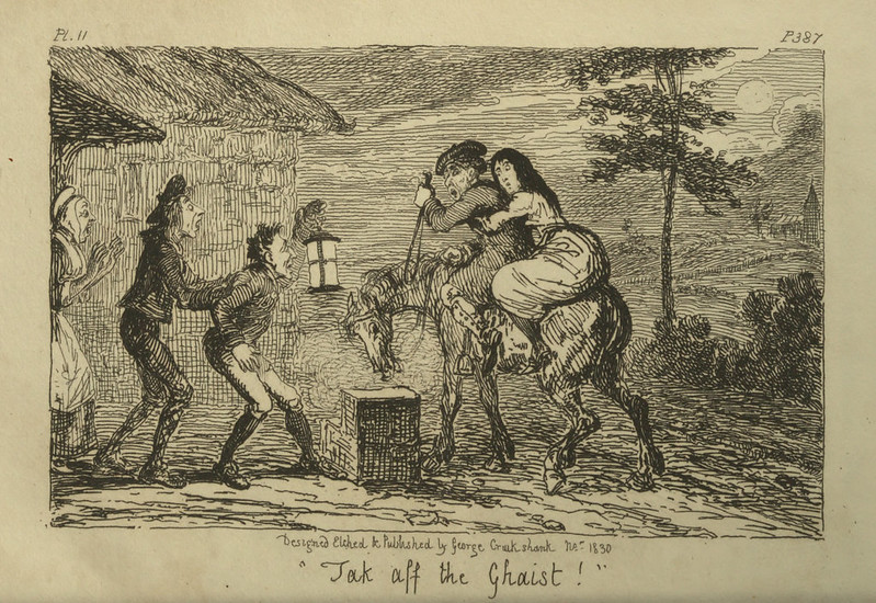 "George Cruikshank - ""Jak aff the Ghaist!"" Illustration from ""Letters On Demonology And Witchcraft"" by Walter Scott, 1830"