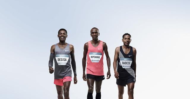 Los atletas Lelisa Desisa, Eliud Kipchoge y Zersenay Tadese listos para el desafío de Breaking2