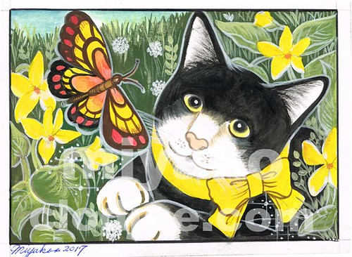 Cat & butterfly with yellow violets