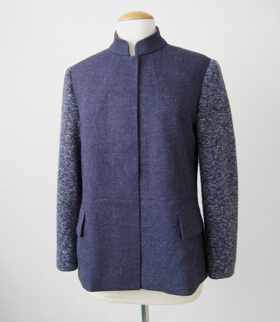 blue denim wool jacket on form front