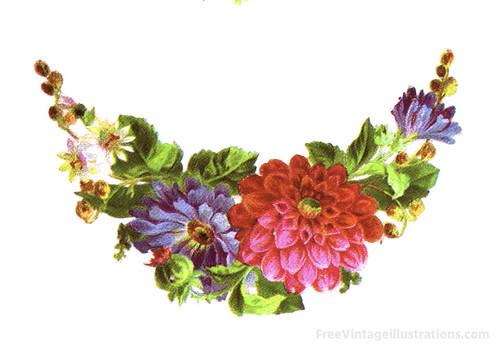Vintage Ilustration Clipart of a Crescent Floral Arrangeme ...