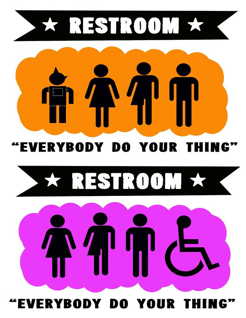 gender neutral bathroom sign baby wale restaurant dc | flickr
