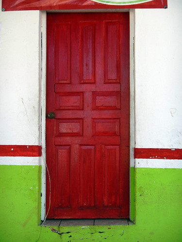 A red door in the mountain village of Las Palmas de Arriba, a short drive from Puerto Vallarta