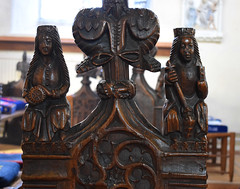 bench end: St Catherine and St Margaret (15th Century)