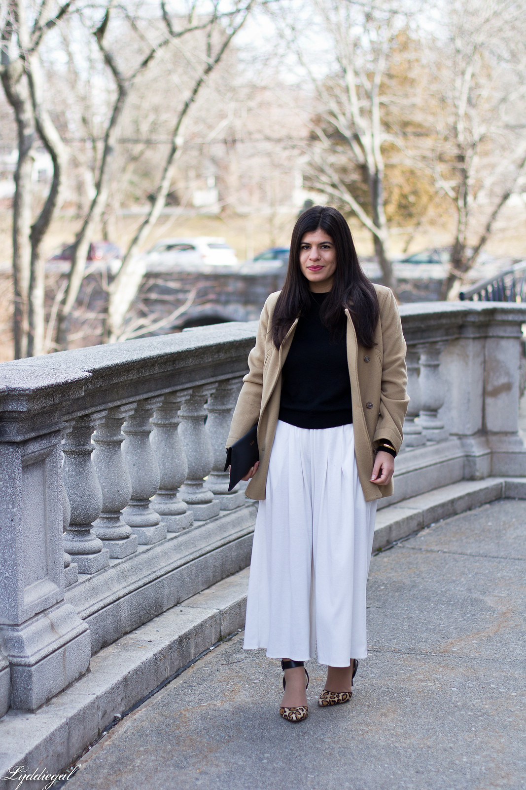 white culottes, black sweater, camel coat, leopard heels, matine clutch-6.jpg