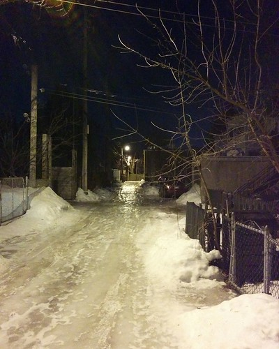 Alley of Rosemont, winter, at night
