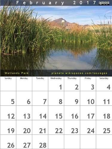 February 2017 Calendar - Wetlands Park, Las Vegas