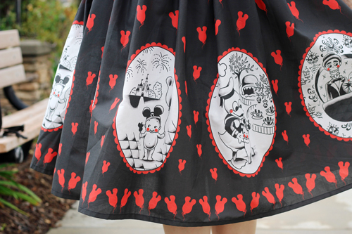 Vintage Inspired by Jackie Atomic Jax Kewpie's Disney Day Out Border Print Full Skirt Pinup Girl Clothing Pinup Couture Sabrina Top in Red