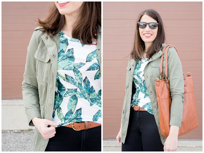 palm print tee + madewell belt + target tote + loft black jeans, spring casual outfit | Style On Target blog