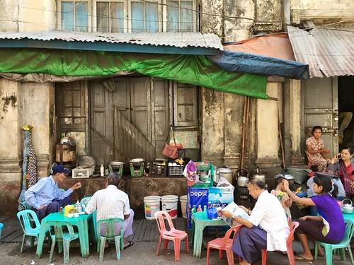 streetside tea shop, Yangon