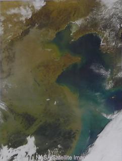 NASA衛星照片,顯示亞洲褐雲籠罩南亞地區。資料來源:環保署
