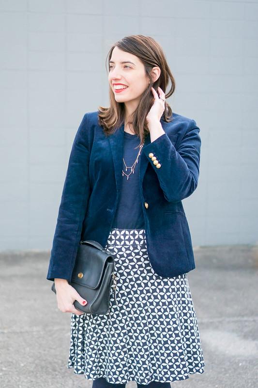 navy cord blazer J.Crew + navy tee + loft blue and white diamond print skirt; winter work outfit | Style On Target blog