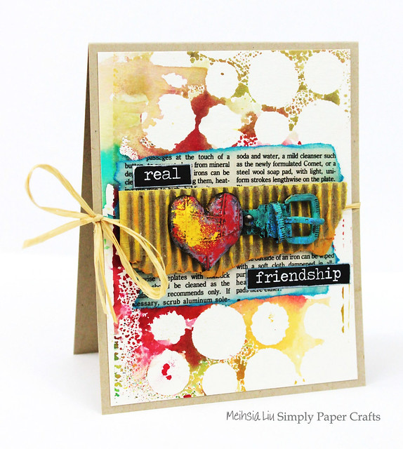 Meihsia Liu Simply Paper Crafts Mixed Media Card Real Friendship Simon Says Stamp Monday Challenge Tim  Holtz Prima Flowers