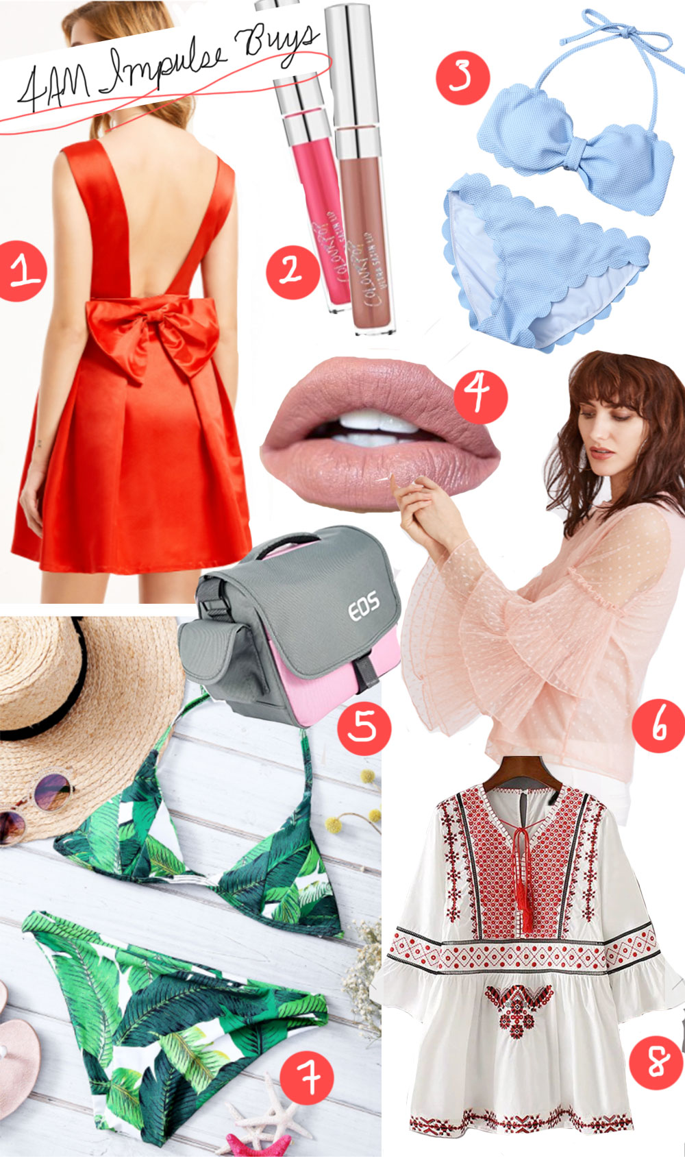 Red bow back dress and palm print halter bikini