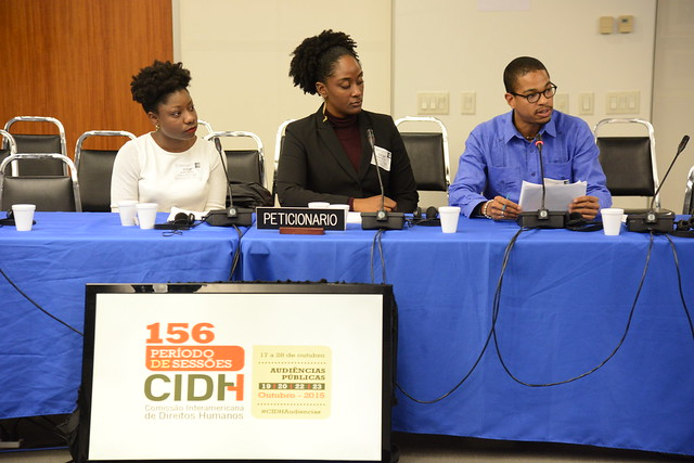 De izquiera a aderecha, peticionarias/o de la audiencia: KizzyAnn Abraham, GrenChap; Malaika Brooks-Smith-Lowe, Groundation Grenada; Richie Maitland, Groundation Grenada