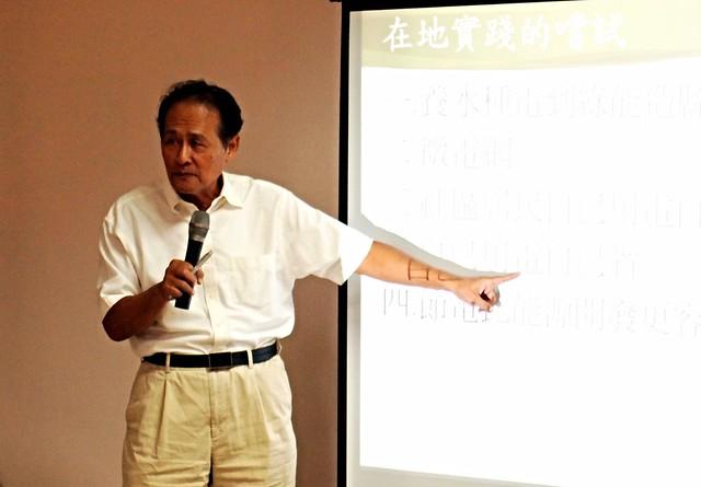 曹啟鴻退休後仍力推再生能源,鼓勵民眾節能減碳。攝影:李育琴