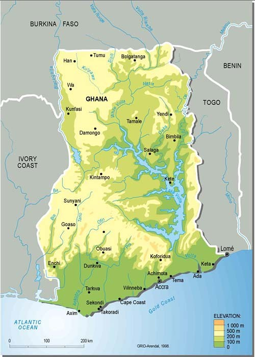 Ghana, topographic map | Overview of the western African cou… | Flickr