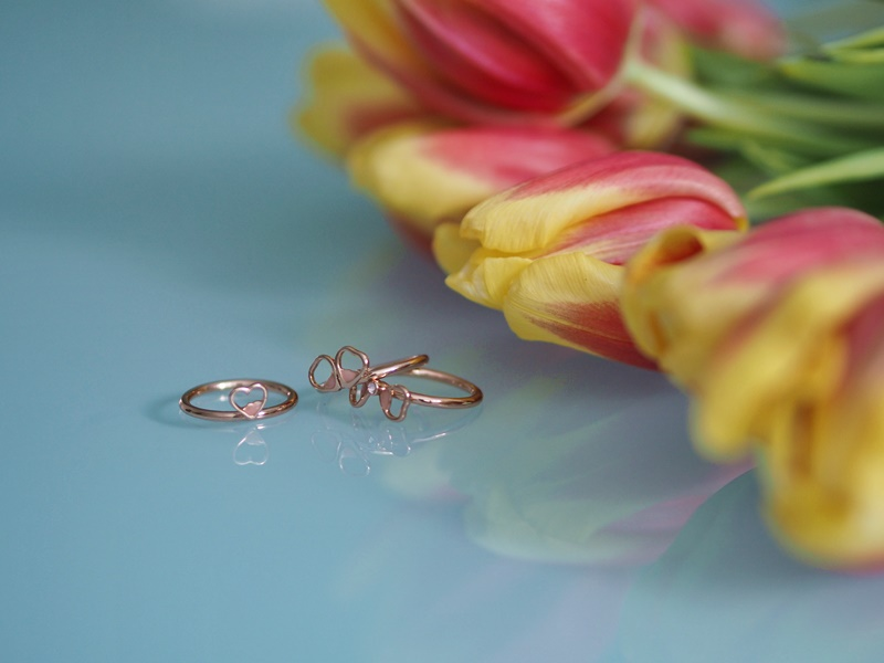 stacked flower ring pink ted baker