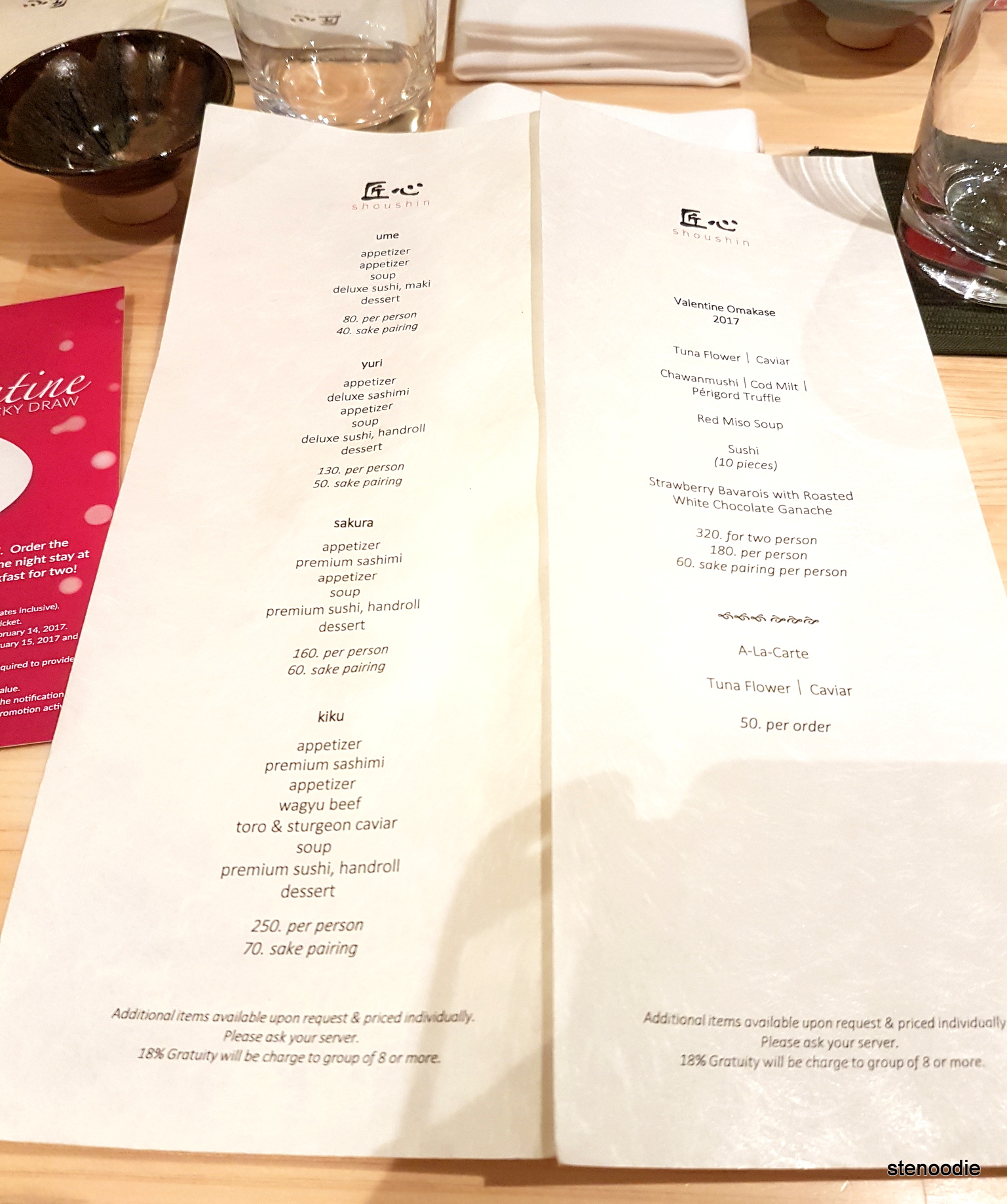Shoushin omakase menus and price