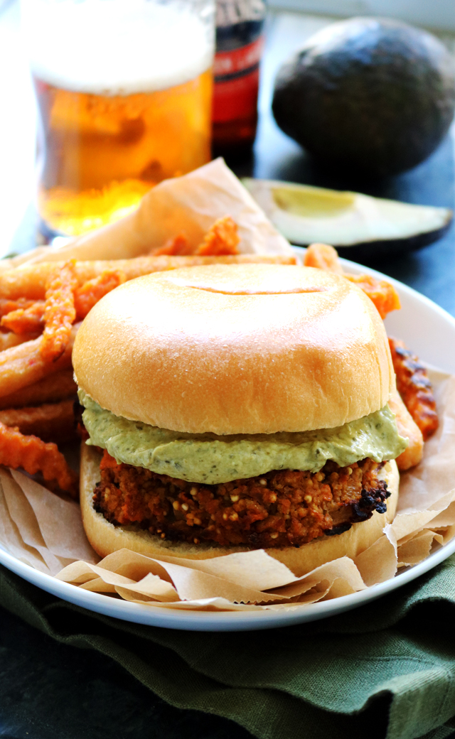 Sweet Potato, Millet, and Refried Bean Burgers with Roasted Poblano Avocado Crema