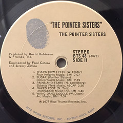 THE POINTER SISTERS:THE POINTER SISTERS(LABEL SIDE-B)