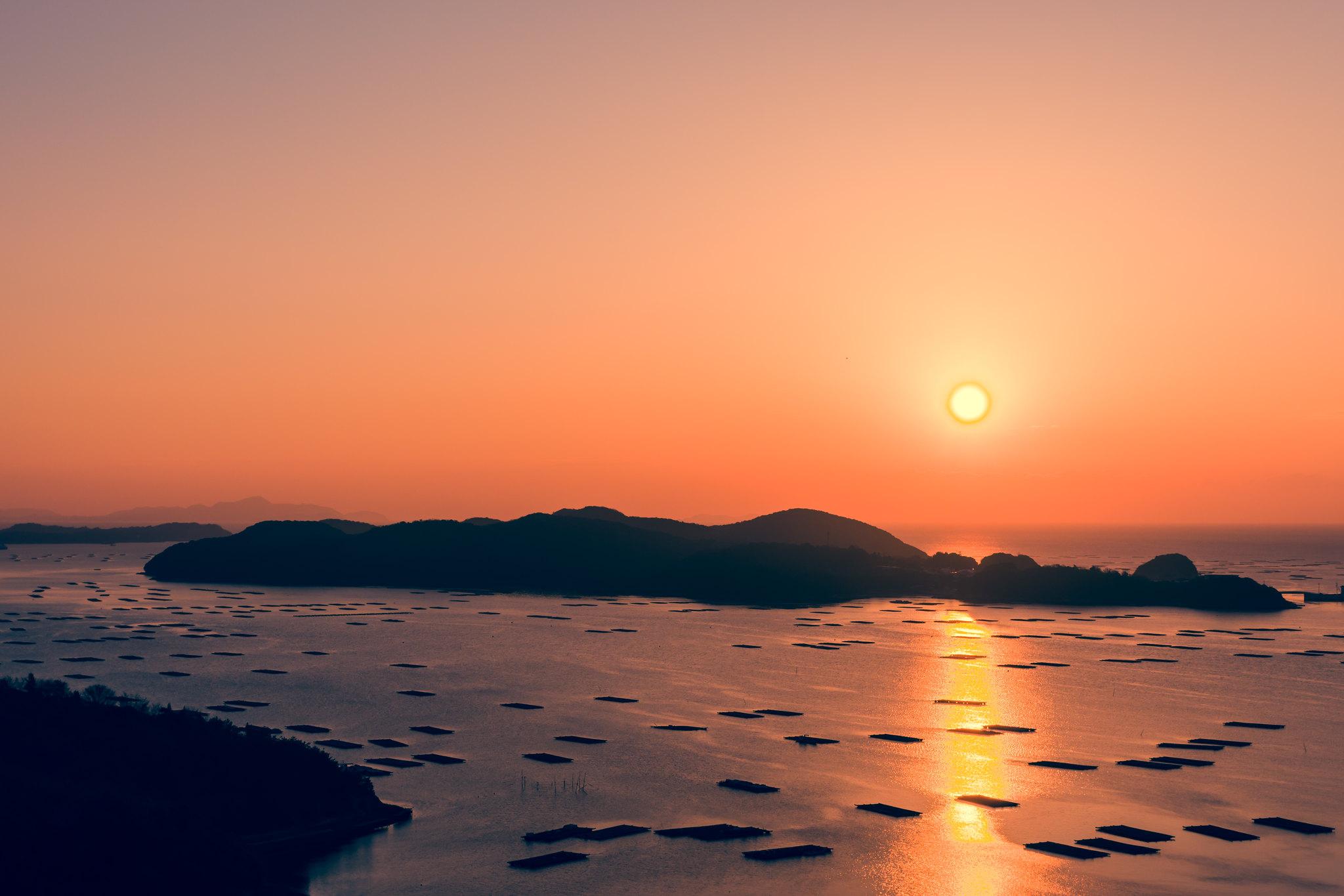 初日の出 虫明湾2