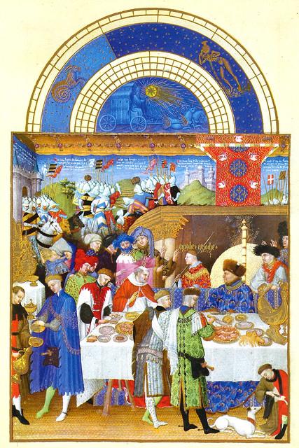 Stundenbuch des Herzogs von Berry ... Kalenderblatt JANUAR ... Neujahrsgeschenke