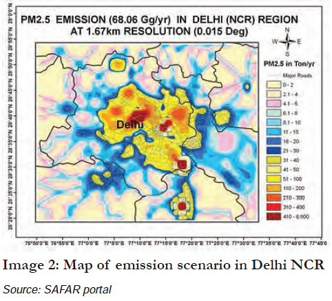 Map of emission scenario in Delhi NCR