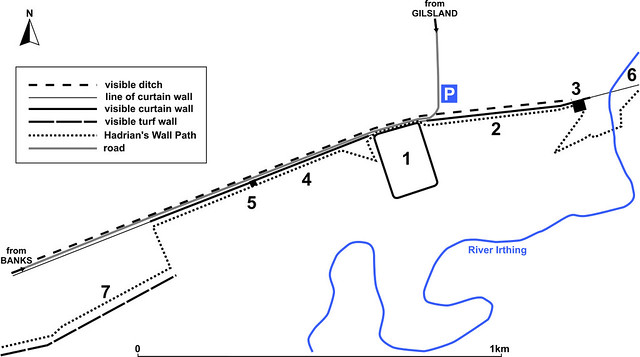 Map of the area around Birdoswald car park