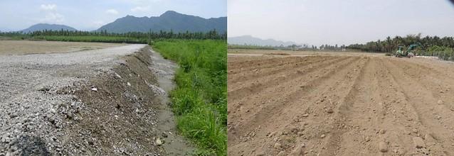 旗山農地被回填99萬噸中鋼轉爐石(左),然後上面在覆上一層土,搖身變成假農地(右)。圖片來源:看守台灣協會