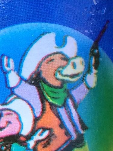 シャボン玉の容器の絵について(牛のカウボーイ)