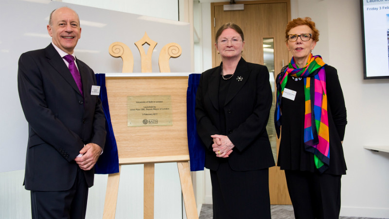 Jules Pipe, Deputy Mayor of London; Professor Dame Glynis M. Breakwell DBE, President and Vice-Chancellor; and Baroness Jan Royall, Pro-Chancellor