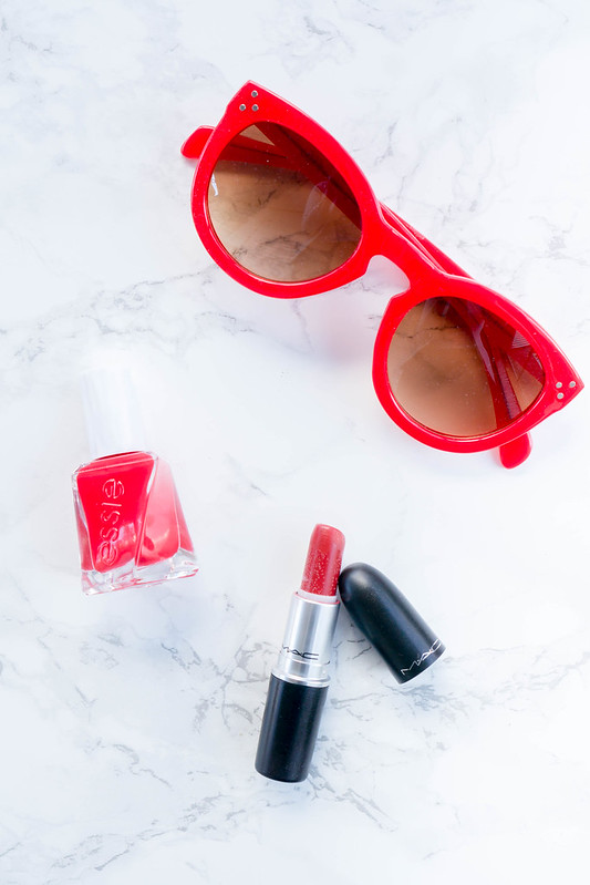 red Loft sunglasses, MAC lady bug red, essie Rock The Runway