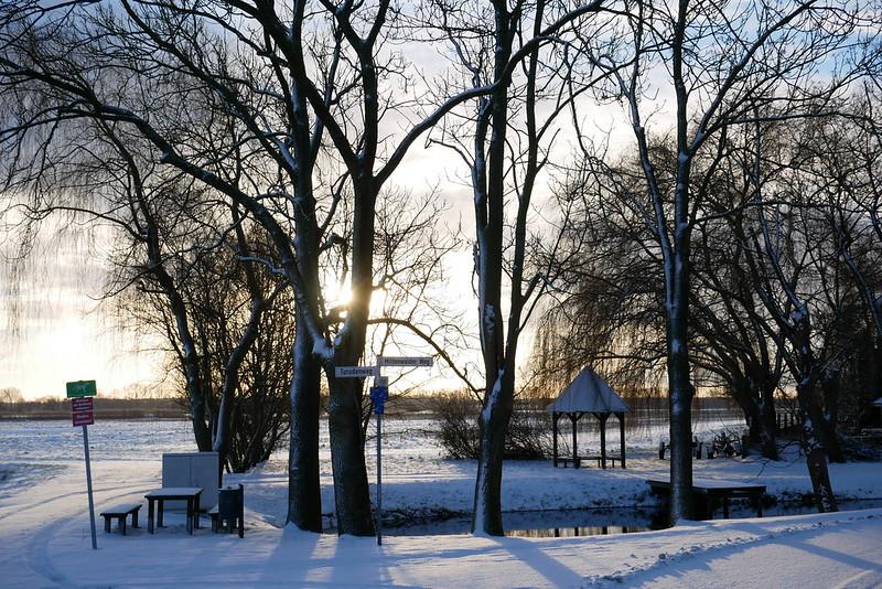 Sonnenaufgang am verschneiten Stegepfuhl