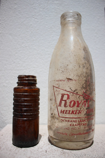 Excavated bottles we found in our garden from the good old days.