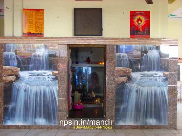Mountain and natural fountain pics on the both of Shiv Dham prayer hall, which gives amazing effets like Mount Kailash