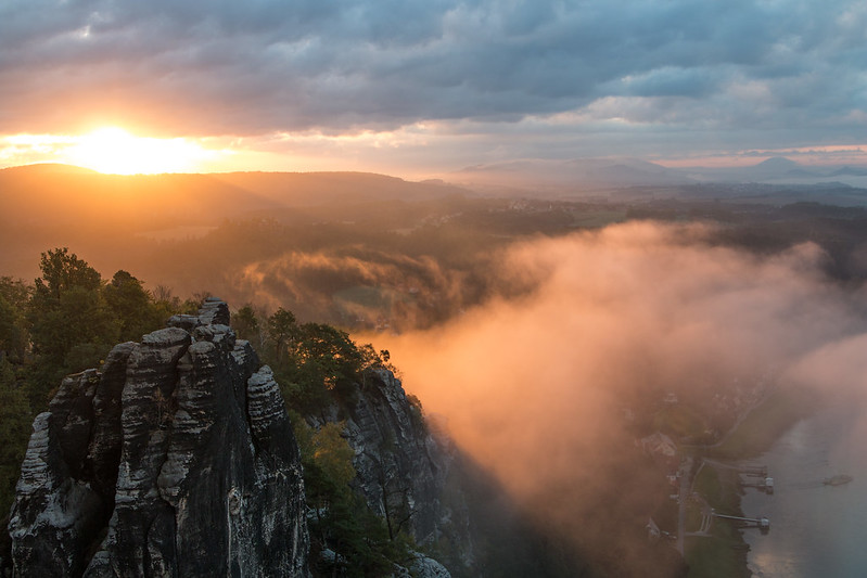 sunrise at bastei saxon switzerland