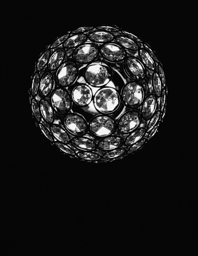 crystal lampshade in black and white