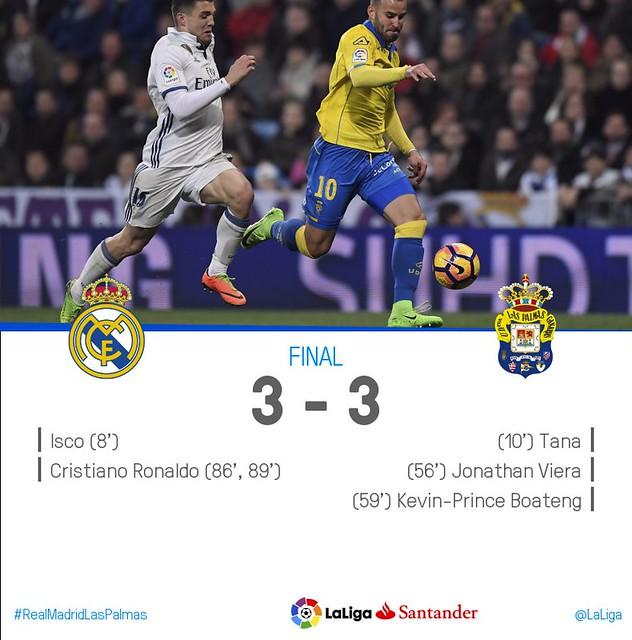 La Liga (Jornada 25): Real Madrid 3 - UD Las Palmas 3