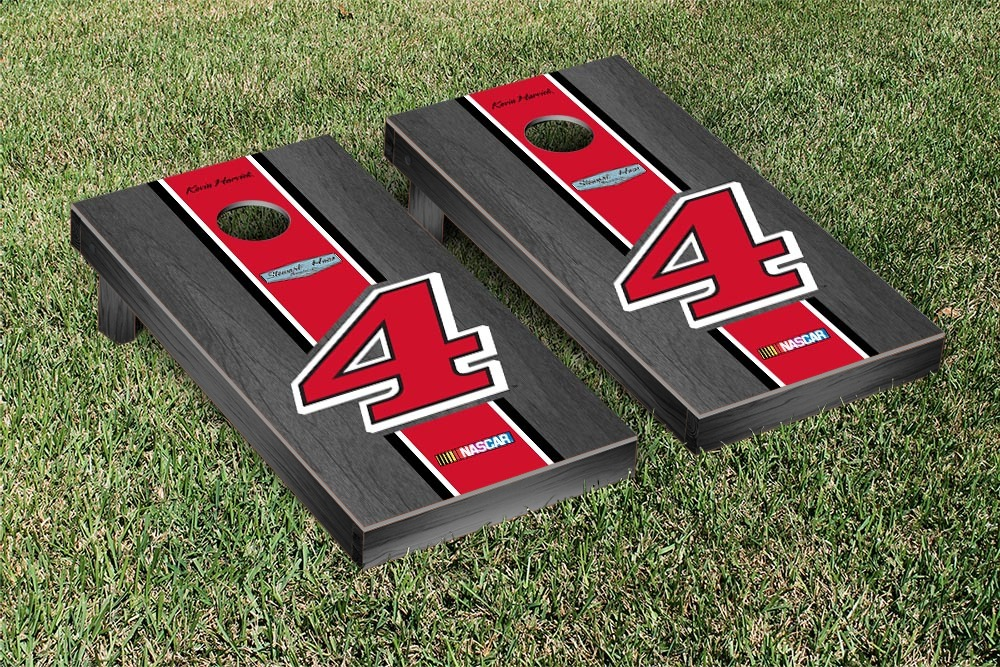 KEVIN HARVICK #4 CORNHOLE GAME SET ONYX STAINED RED STRIPE VERSION