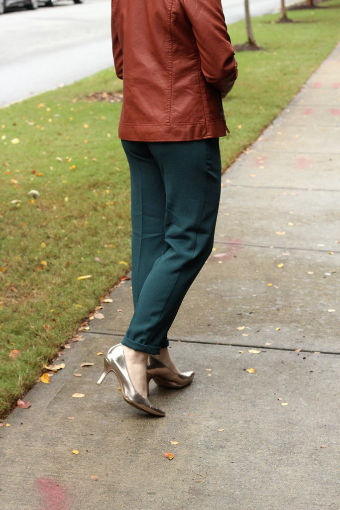 Ankle Grazer Green Cigarette Pants and Rose Gold Heels