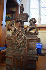 bench end: buck and goat? (15th Century)