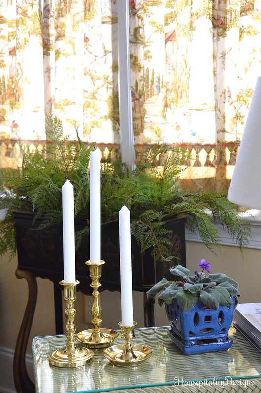 Brass Candlesticks-Chinoiserie Planter-Sunroom-Housepitality Designs