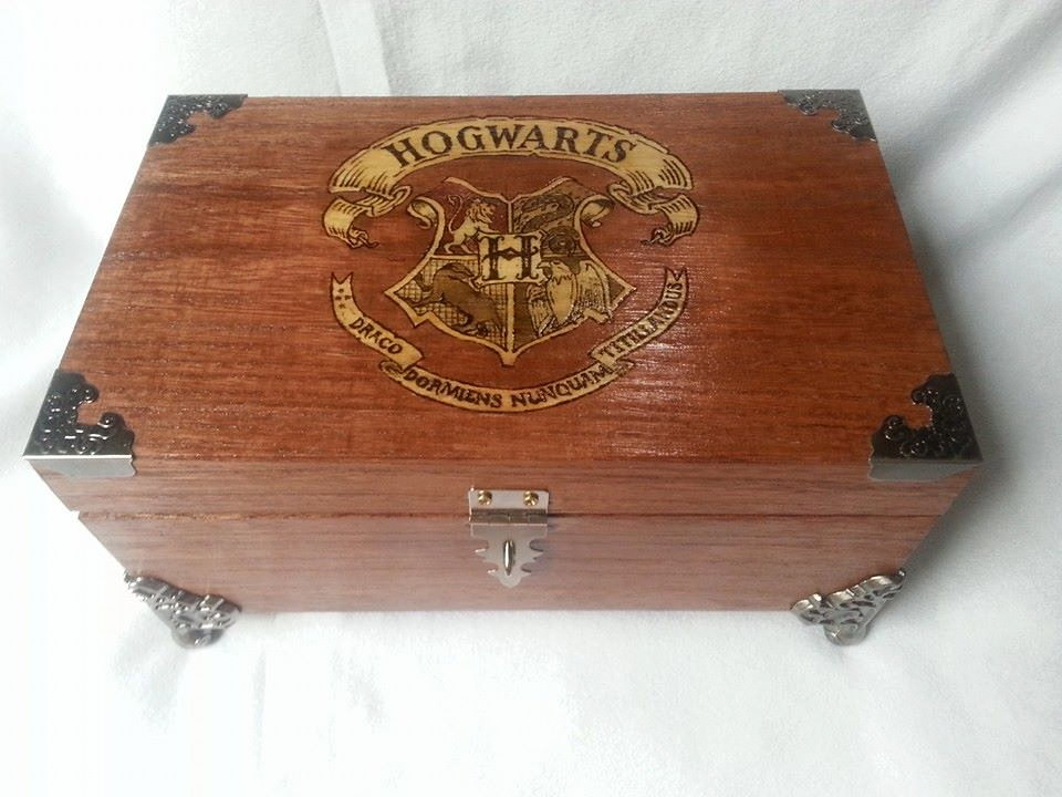 Harry Potter Hogwarts woodburned keepsake box by Kathleen Kaderabek